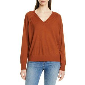 Theory Merino Wool Relaxed V Neck Sweater